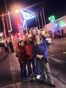 """Heidi & Troy, from Houston, and Tim & Christina, from San Diego, joined us for the 4 pm tour of Downtown. It was the """"Magic Hour"""" - twilight, when the neon signs flicker on"""